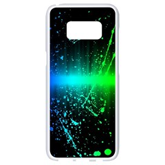 Space Galaxy Green Blue Black Spot Light Neon Rainbow Samsung Galaxy S8 White Seamless Case by Mariart