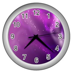 Space Star Planet Galaxy Purple Wall Clocks (silver)  by Mariart