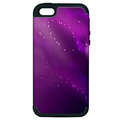 Space Star Planet Galaxy Purple Apple Iphone 5 Hardshell Case (pc+silicone) by Mariart