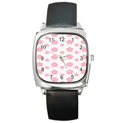 Star Pink Flower Polka Dots Square Metal Watch by Mariart