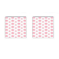 Star Pink Flower Polka Dots Cufflinks (square) by Mariart