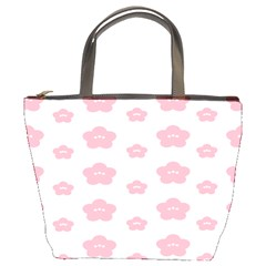 Star Pink Flower Polka Dots Bucket Bags by Mariart