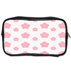 Star Pink Flower Polka Dots Toiletries Bags 2 Side by Mariart