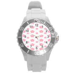Star Pink Flower Polka Dots Round Plastic Sport Watch (l) by Mariart
