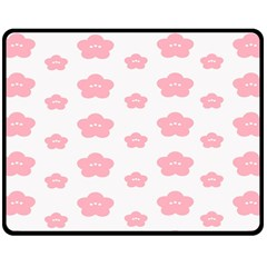 Star Pink Flower Polka Dots Double Sided Fleece Blanket (medium)  by Mariart