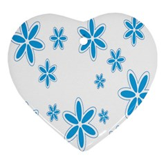 Star Flower Blue Ornament (heart) by Mariart