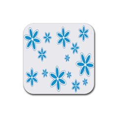 Star Flower Blue Rubber Square Coaster (4 Pack)  by Mariart