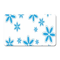 Star Flower Blue Magnet (rectangular) by Mariart