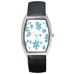 Star Flower Blue Barrel Style Metal Watch by Mariart