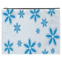Star Flower Blue Cosmetic Bag (xxxl)  by Mariart