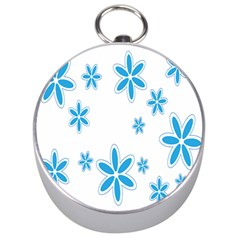 Star Flower Blue Silver Compasses by Mariart
