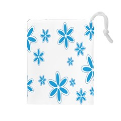 Star Flower Blue Drawstring Pouches (large)  by Mariart