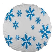 Star Flower Blue Large 18  Premium Flano Round Cushions by Mariart