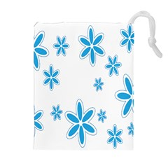 Star Flower Blue Drawstring Pouches (extra Large) by Mariart