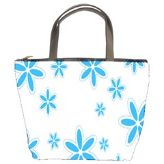 Star Flower Blue Bucket Bags by Mariart