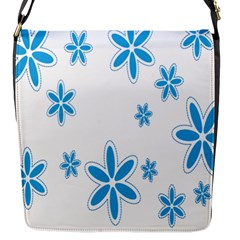 Star Flower Blue Flap Messenger Bag (s) by Mariart