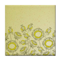 Sunflower Fly Flower Floral Tile Coasters by Mariart