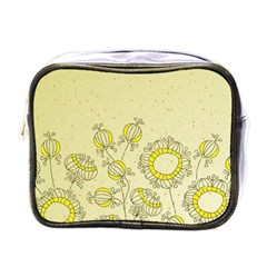 Sunflower Fly Flower Floral Mini Toiletries Bags by Mariart