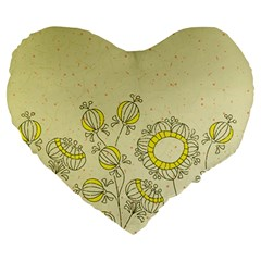 Sunflower Fly Flower Floral Large 19  Premium Heart Shape Cushions by Mariart