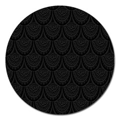 Skin Abstract Wallpaper Dump Black Flower  Wave Chevron Magnet 5  (round) by Mariart