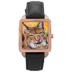 Tiger Beetle Lion Tiger Animals Rose Gold Leather Watch  by Mariart