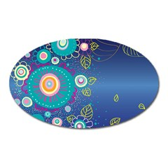 Flower Blue Floral Sunflower Star Polka Dots Sexy Oval Magnet by Mariart