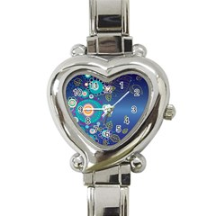 Flower Blue Floral Sunflower Star Polka Dots Sexy Heart Italian Charm Watch by Mariart