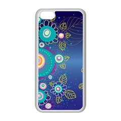 Flower Blue Floral Sunflower Star Polka Dots Sexy Apple Iphone 5c Seamless Case (white) by Mariart