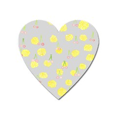 Cute Fruit Cerry Yellow Green Pink Heart Magnet by Mariart