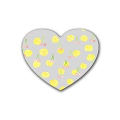Cute Fruit Cerry Yellow Green Pink Heart Coaster (4 Pack)  by Mariart