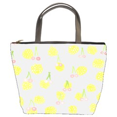 Cute Fruit Cerry Yellow Green Pink Bucket Bags by Mariart