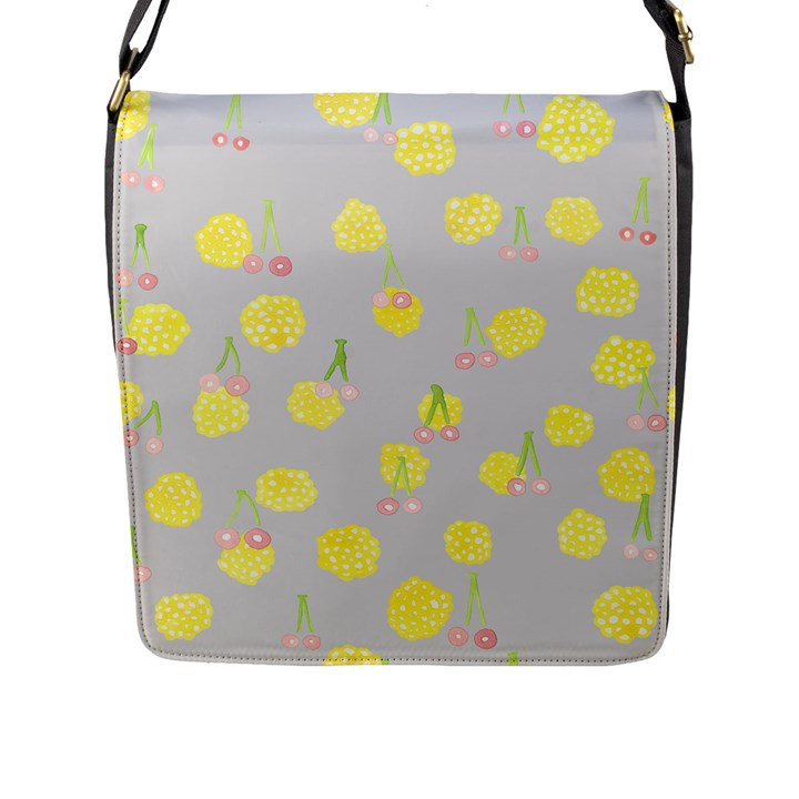 Cute Fruit Cerry Yellow Green Pink Flap Messenger Bag (L)