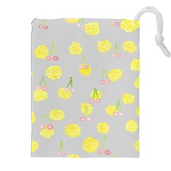 Cute Fruit Cerry Yellow Green Pink Drawstring Pouches (xxl) by Mariart