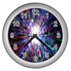 Seamless Animation Of Abstract Colorful Laser Light And Fireworks Rainbow Wall Clocks (silver)  by Mariart