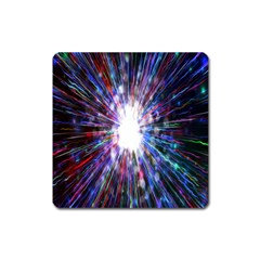 Seamless Animation Of Abstract Colorful Laser Light And Fireworks Rainbow Square Magnet by Mariart