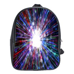 Seamless Animation Of Abstract Colorful Laser Light And Fireworks Rainbow School Bag (xl) by Mariart