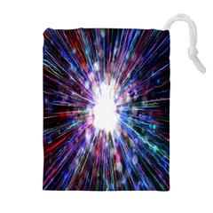Seamless Animation Of Abstract Colorful Laser Light And Fireworks Rainbow Drawstring Pouches (extra Large) by Mariart