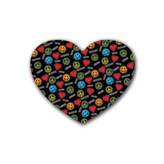 Pattern Halloween Peacelovevampires  Icreate Rubber Coaster (heart)  by iCreate