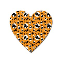 Pattern Halloween Black Cat Hissing Heart Magnet by iCreate