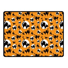 Pattern Halloween Black Cat Hissing Fleece Blanket (small) by iCreate