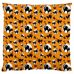 Pattern Halloween Black Cat Hissing Large Flano Cushion Case (two Sides) by iCreate