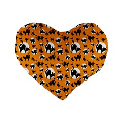 Pattern Halloween Black Cat Hissing Standard 16  Premium Flano Heart Shape Cushions by iCreate