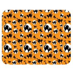 Pattern Halloween Black Cat Hissing Double Sided Flano Blanket (medium)  by iCreate