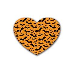 Pattern Halloween Bats  Icreate Rubber Coaster (heart)  by iCreate