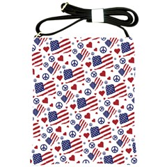 Peace Love America Icreate Shoulder Sling Bags by iCreate
