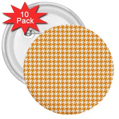 Friendly Houndstooth Pattern, Orange 3  Buttons (10 Pack)