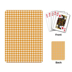 Friendly Houndstooth Pattern, Orange Playing Card by MoreColorsinLife