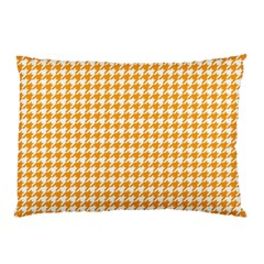 Friendly Houndstooth Pattern, Orange Pillow Case by MoreColorsinLife