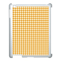 Friendly Houndstooth Pattern, Orange Apple Ipad 3/4 Case (white) by MoreColorsinLife