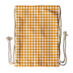 Friendly Houndstooth Pattern, Orange Drawstring Bag (large) by MoreColorsinLife